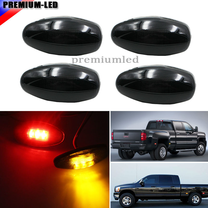 (4) Smoke Lens LED Fender Bed Side Marker Lights Set For GMC Sierra Chevrolet Silverado HD Truck (2 x Amber, 2 x Red) 1pair led side maker lights for jeeep wrangler amber front fender flares parking turn lamp bulb indicator lens