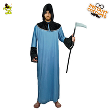 Adult men s Grim Reaper Cape Death Halloween Hooded Robe Outfit Cloak Devil  Cosplay Halloween Party Reaper aa0b47174