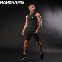 Nansha marca mens compresión Camisetas de tirantes hombres rápido seco transpirable Trajes hombres gimnasios Trajes hombres gyms Compression Sets