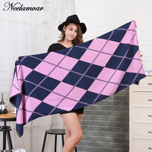 2016 Winter Scarf  Luxury Brand Tartan Cashmere Scarf Women Wool Plaid Blanket Scarf woman Pashmina Wrap Shawls and Scarves
