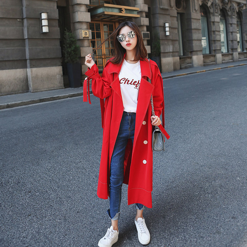 Big red   Trench   coats long section 2019 new Spring Autumn Korean double-breasted loose Black windbreaker Women Outerwear N755