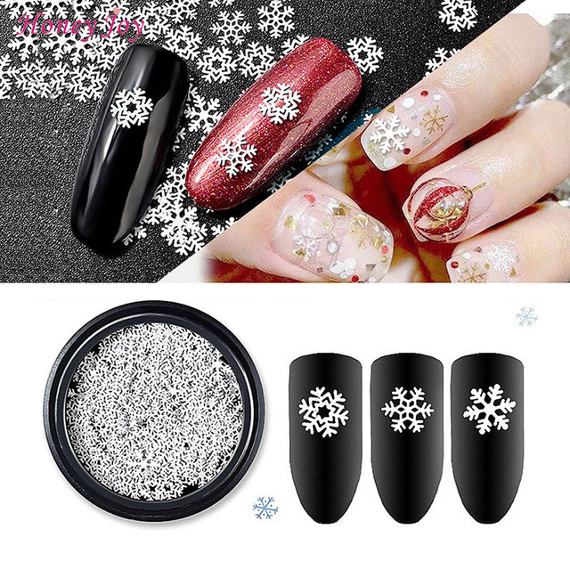 1 Box Merry Christmas Xmas Gift Silver Nail Flakes Glitter Snow