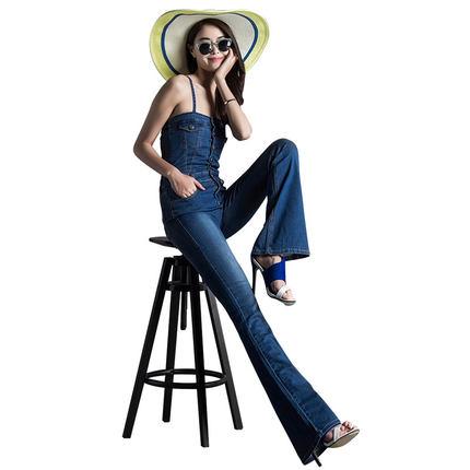 Casual font b Jeans b font jumpsuit denim bib pants high waist boot cut spaghetti strap