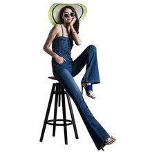 Casual Jeans jumpsuit denim bib pants high waist boot cut spaghetti strap slim bell-bottom open back overalls S30