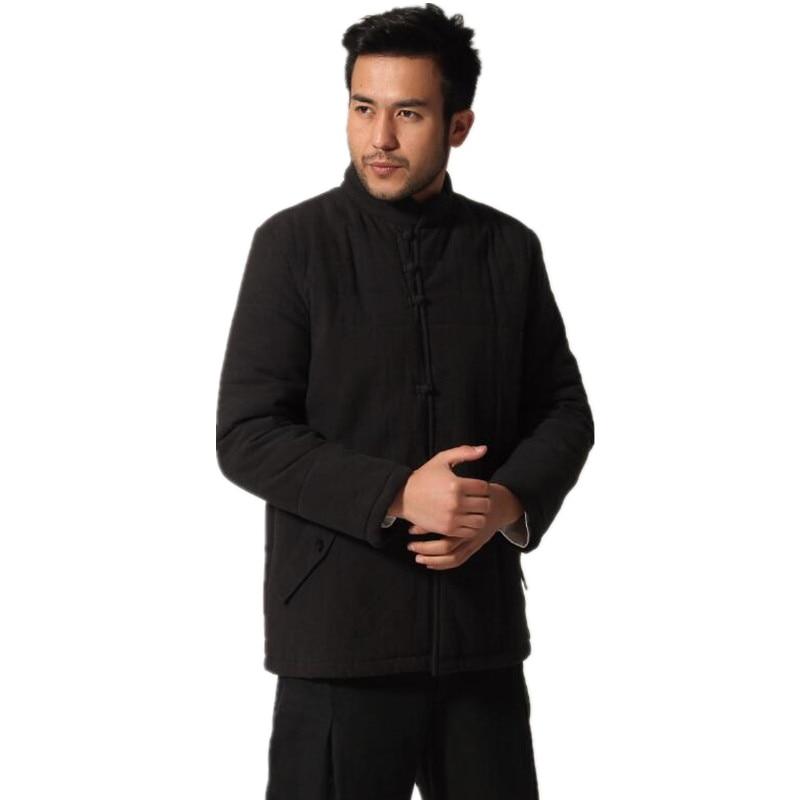 Erkek Kıyafeti'ten Ceketler'de Siyah Kış Erkek Pamuk yastıklı Kalınlaşmak Ceket Çince Geleneksel Pamuk Keten Ceket Palto Dış Giyim Boyutu M L XL XXL XXXL'da  Grup 1