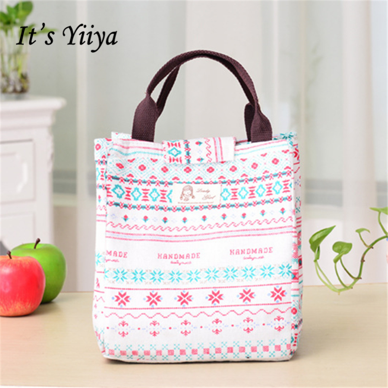 Its Yiiya Sales Canvas Cooler Bag Fashion Student Business Lunch Bag Portable Cartoon Prints Thermal Bags BW036