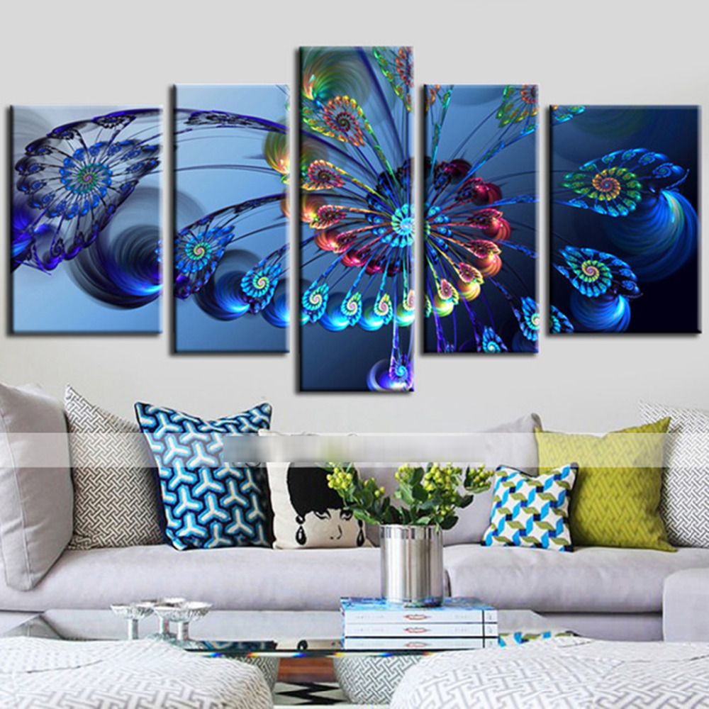Buy 5 panels canvas peacock feather painting on canvas wall art picture home - Home decor picture ...