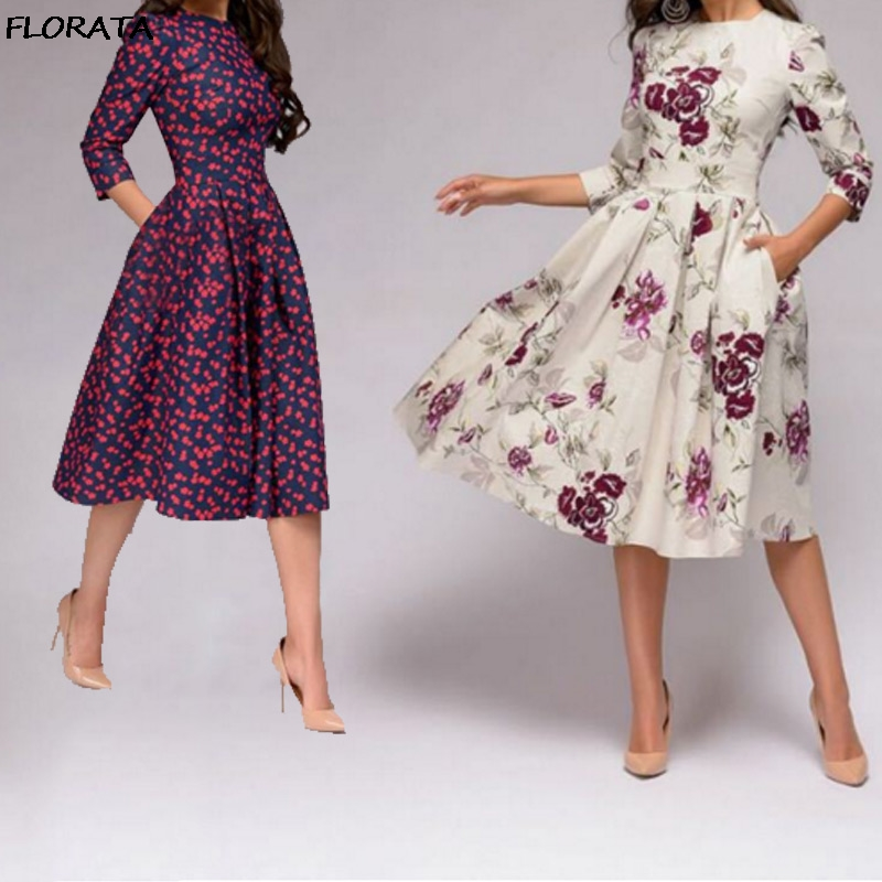 86b530f5390 FLORATA 2019 Women Spring Autumn and Winter Dress Party Retro Small Floral  Printing Seven-Point