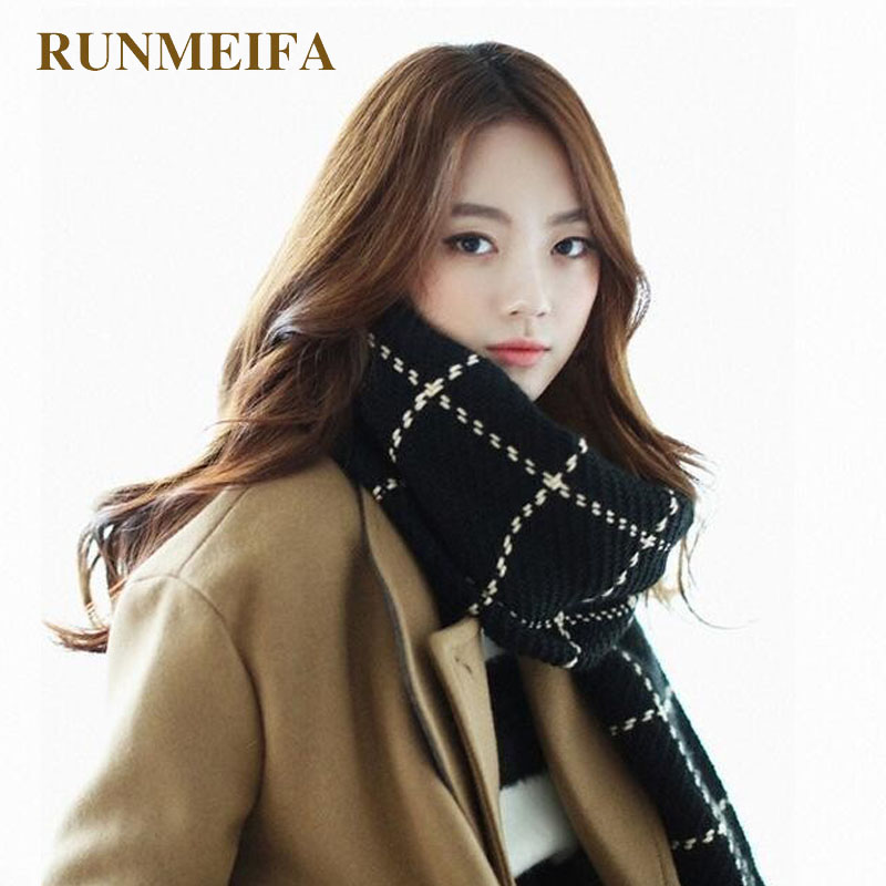 [RUNMEIFA] Za Plaid   Scarf   Women 2017 Black Fashion Warm Women   Scarves   Winter   Scarf     Wrap   Shawl Blanket   Scarf   Luxury