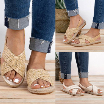 GlintLife | Breaded straw flat sandals | For feet beauty