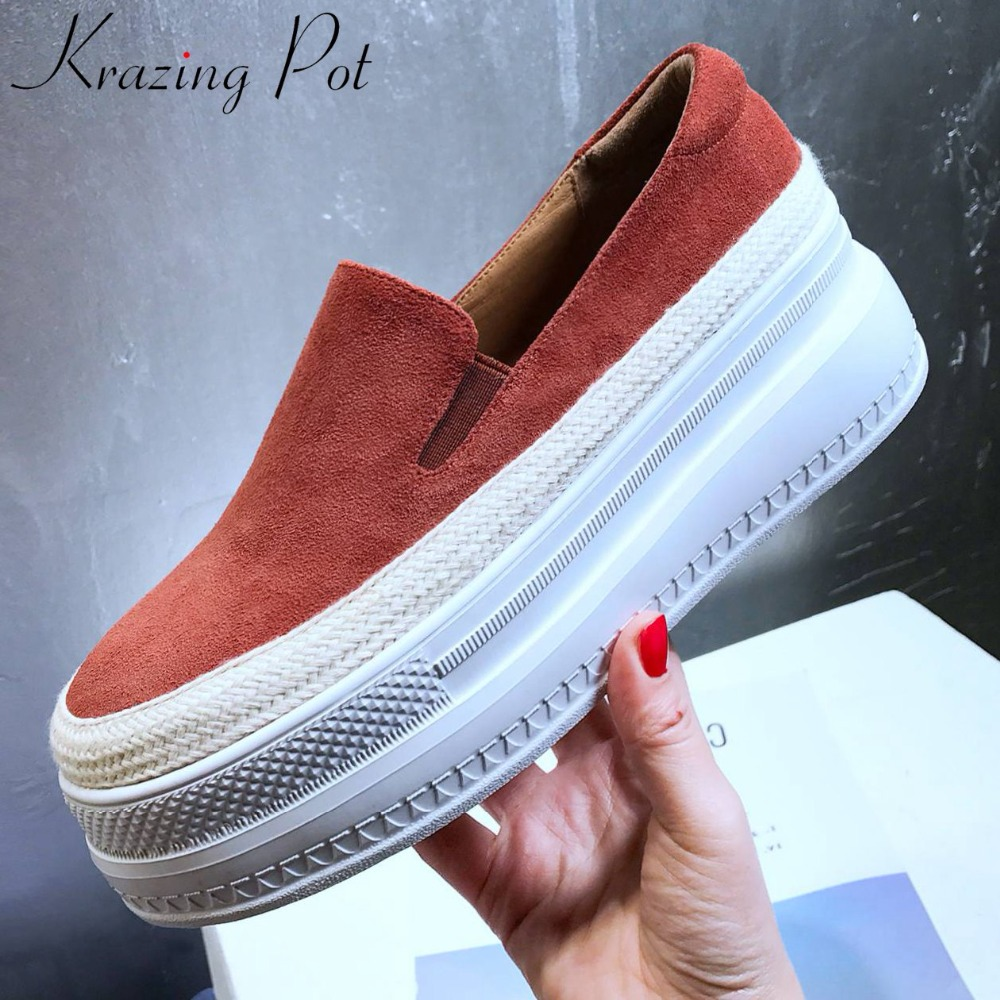 Krazing Pot comfortable loafers round toe thick high bottom waterproof natural leather slip on casual shoes