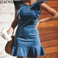 GACVGA 2019 Ruffles Jeans Dress Empire Vintage Women Summer Dress Sexy Ladies Denim Mini Party Dresses Vestidos