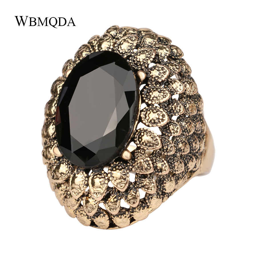 Vintage Jewelry Big Bohemian Ring Black Red Stone Gold Wedding Rings For Women Indian Statement Jewellery Free Shipping