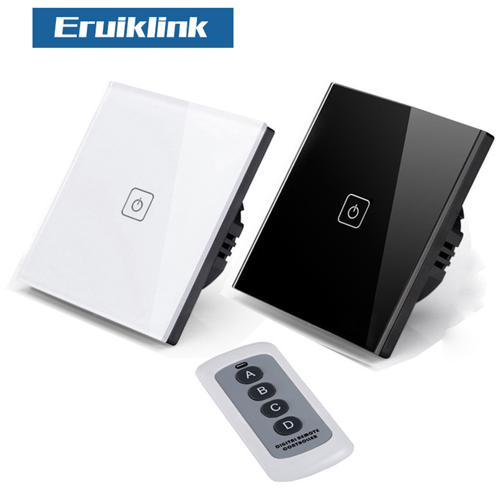 Eruiklink EU/UK Wall Switch 1 Gang 1 Way Wireless Remote Control Light Switch, Smart Home RF433 Remote Control Wall Touch Switch 86 type one touch switch intelligent home wireless radio frequency remote control wall switch