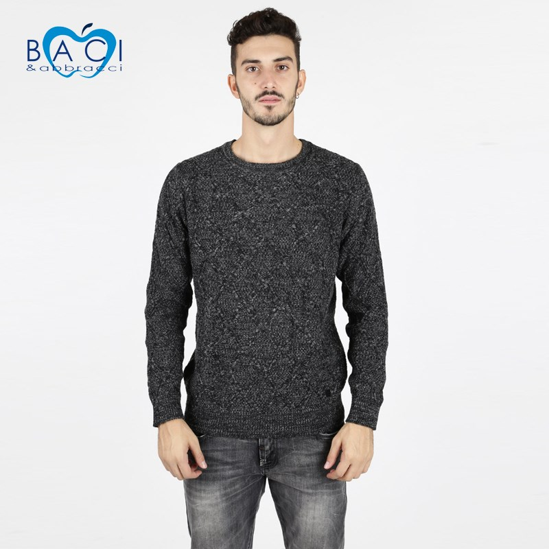 Round Neck Sweater Wool Blend-Black