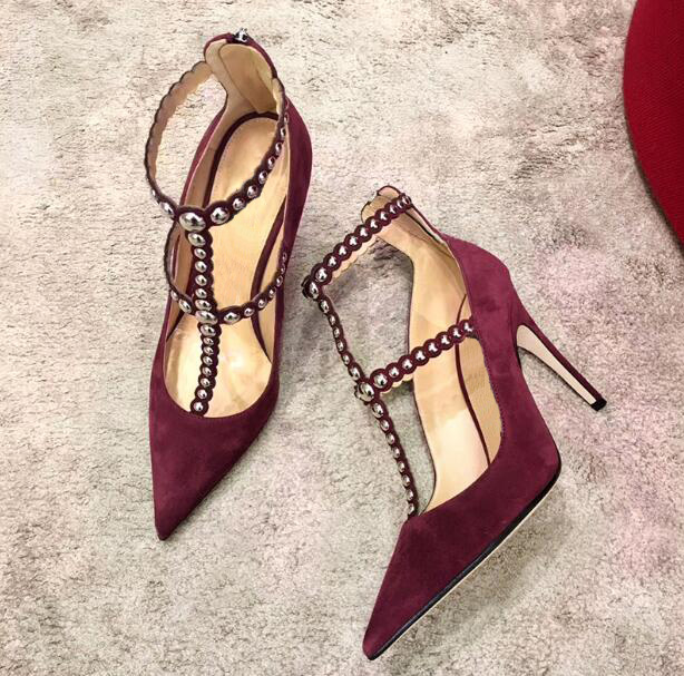 2018 Spring Fashion Burgundy Faux Suede Leather Women T-Straps High Heels Sexy Pointy Toe Ladies Sexy Pumps Elegant Party Shoes alfani women s faux wrap jersey dress 3x new burgundy