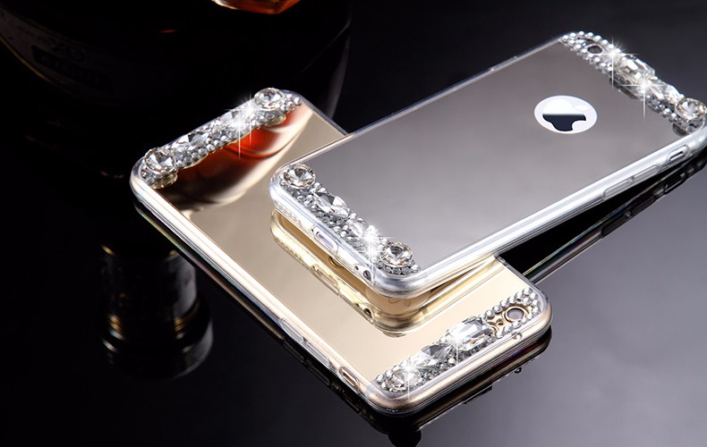 6S 7 Plus Luxury Diamond Glitter Mirror Case For Apple iPhone7 Plus 6 6s Plus 5 5S SE Dual Layer Bling TPU Slim Clear Back Cover (7)