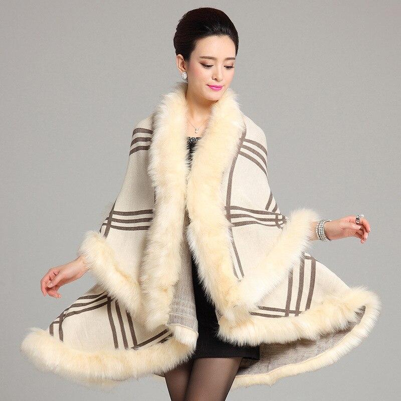 Winter Women Oversized Knitted Cashmere Poncho Capes Gewen Imitation Fox Fur Shawl Tops Long Cardigan Feminino Knitwear Sweater