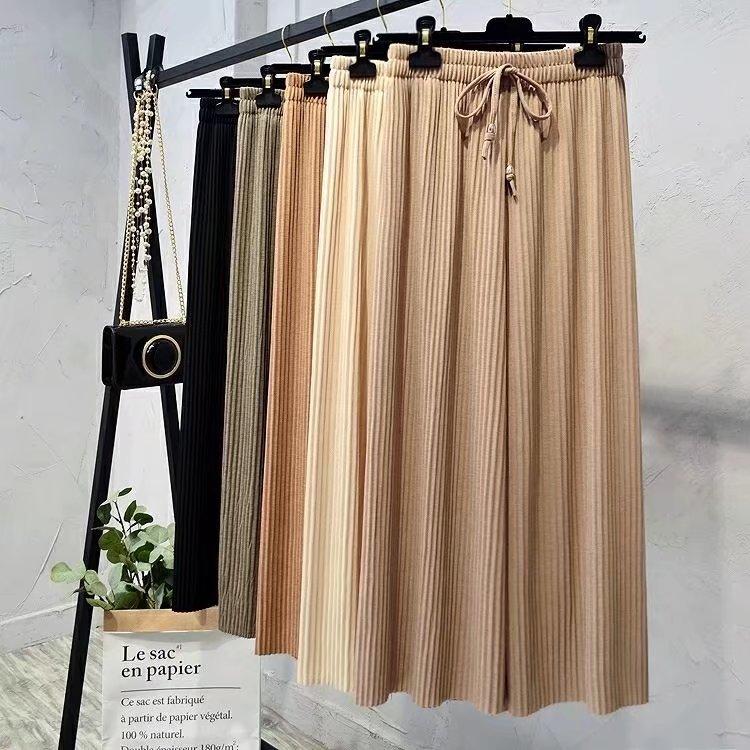 Korean Ice Silk High Waist Pleated Ankle-length Pants Womens 2019 Spring And Summer High Waist Wide Leg Pants Women Trousers
