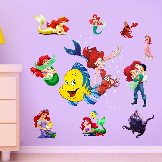 New Wall Stickers Ariel The Little Mermaid Princess Stickers Vinyl Wall  Decal Children Room Decor Part 52