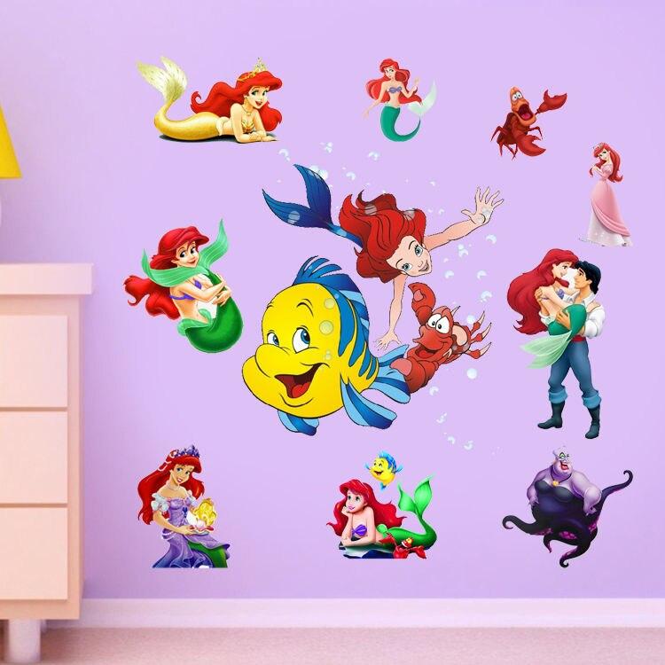 New Wall Stickers Ariel The Little Mermaid Princess Stickers Vinyl Wall  Decal Children Room Decor(