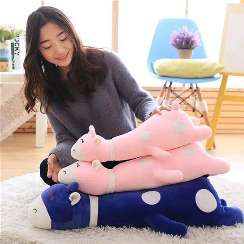 Fancytrader Soft Stuffed Sleeping Giraffe Plush Pillow Toy Cute Animals Deer Doll 80cm 31inch Kids Present stuffed animal 120 cm cute love rabbit plush toy pink or purple floral love rabbit soft doll gift w2226
