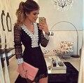 2017 nuevas mujeres de la moda a-line dress sexy negro ahueca hacia fuera los vestidos de encaje casual manga larga mini dess