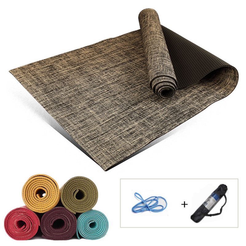 Natural Linen Yoga Mats Non-slip 173*61*5mm Sports Fitness Mats Gym Exercise Mat Thick Yoga Pad Tapis Yoga Dance Training Mat chastep natural pvc yoga mat anti slip sweat absorption 183 61cm 6mm yoga pad fitness gym pilates sports exercise pad yoga mats