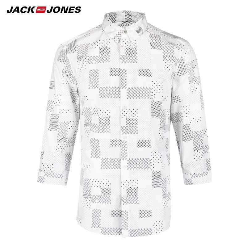 ジャック & ジョーンズブランド 2019 新綿パンクスタイル格子縞の男性スリムセーラー襟 3 分袖カジュアルシャツ | 216231509