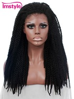 Imsytle African Style braids black synthetic lace front wig for women braided wigs curly hair