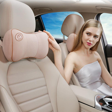1pc Auto Car Neck Rest Headrest Cushion Pillow Memory Cotton Fabric Cover Soft Head Travel Support Accessories