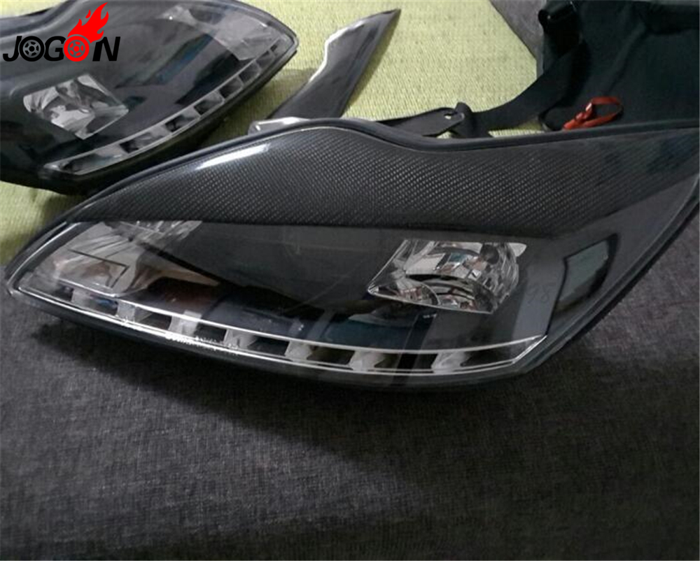 small resolution of 2p for ford focus mk2 facelift 2008 2010 5 door hatchback carbon fiber front head light eyelid lamp headlight eyebrow cover trim in lamp hoods from
