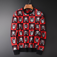 Minglu Allover พิมพ์ชาย PLUS ขนาด 4XL ผ้าฝ้าย 100% หัวแมวเสื้อสำหรับชายฤดูใบไม้ผลิ Slim เสื้อกันหนาวชาย