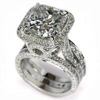 Прямая доставка Фирменная Новинка Роскошные ювелирные изделия Promise Ring 925 пробы серебро подушки Форма AAA CZ Повезло свадьбы женский перстень
