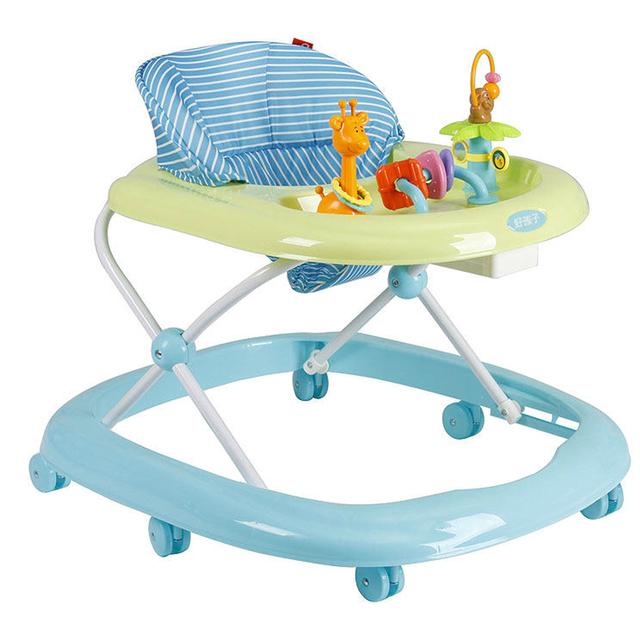 Mejor Venta Portable 7-18 meses de Bebé Walker Anti Rollover Bebé Multifuncional Coche Con Juguetes Placa de Seguridad Plegable Fácil Scooter