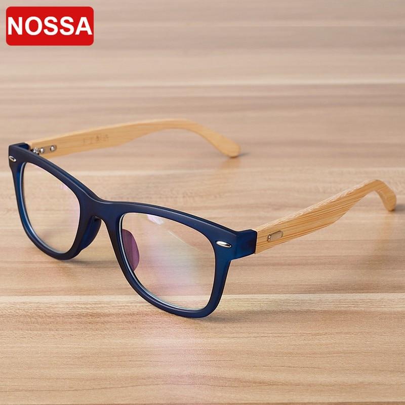 85bdd4e632 NOSSA Brand Designer Handmade Bamboo Glasses Frame Women Men Vintage Myopia  Prescription Eyeglasses Frames Wooden Eyewear