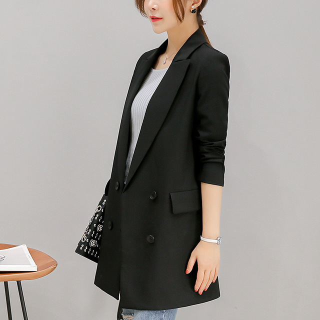 Office Supplies Jacket Womenu0027s Clothing Code New Autumn Black Long  Temperament Thin Open Long Sleeved