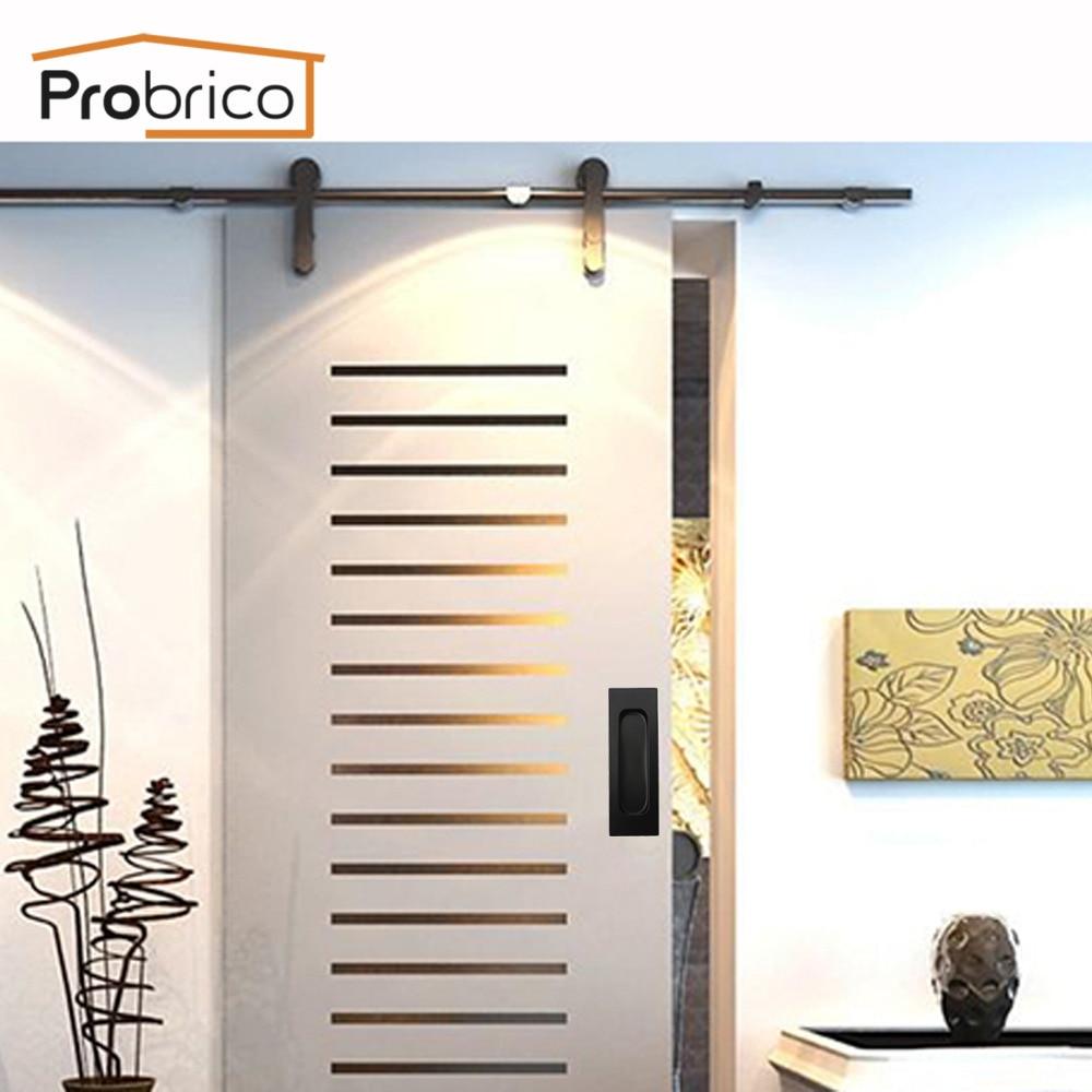 Probrico Recessed Cabinet Handles Pocket Door Insert Pulls Barn Door Handle  Pulls Black Stabinless Steel With Screws 5 Pack  In Cabinet Pulls From Home  ...