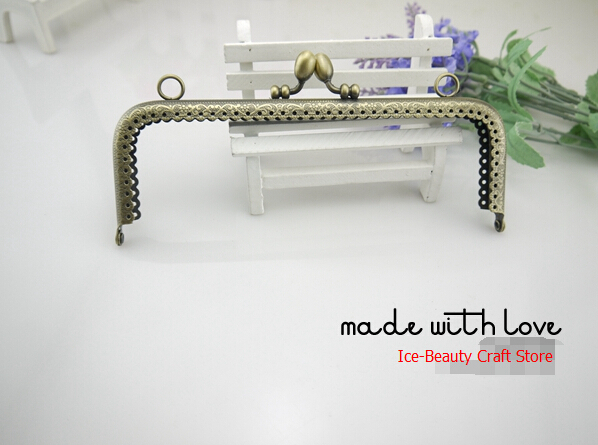 Bronze 17.5cm square metal purse frame with rings handbag handle holder ,purses clasp diy bag accessories10pcs/lot S0104