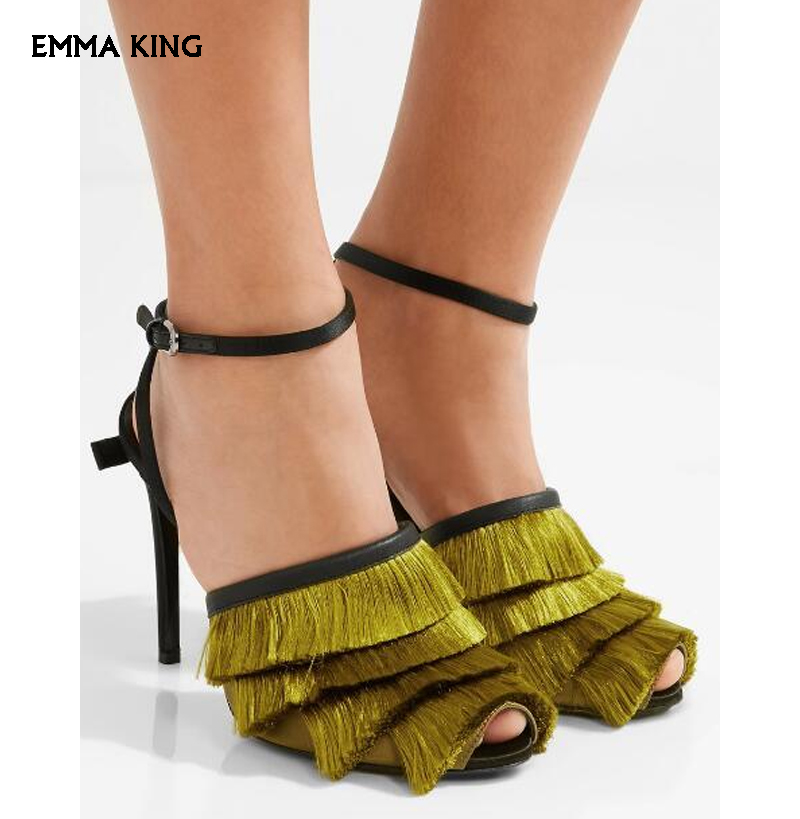 rot grün Knöchel Schnallen Peep Frauen Frühling Abdeckung High Sandalen Toe Sexy Colors Party Quaste Armee customizable Schuhe Kleid Stil Damen Retro Heels Hohe Elegante w1Rq14xnW