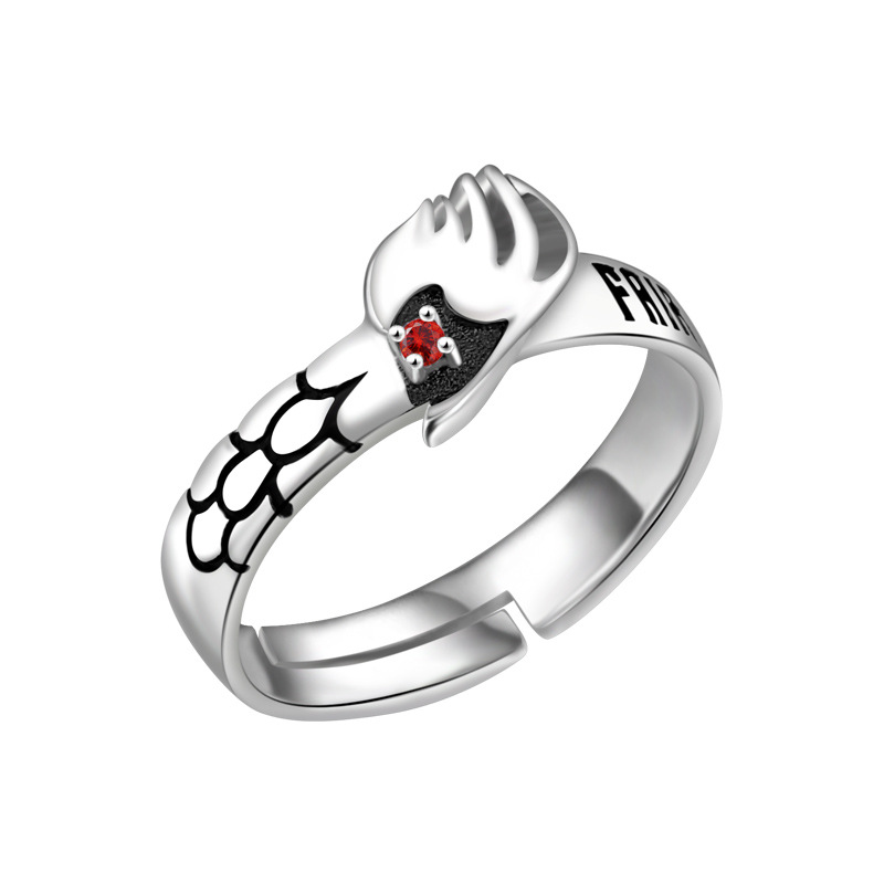 925 Silver Ring Fairy Tail Ring Sterling Adjustable Natsu Dragneel Guild Cosmile