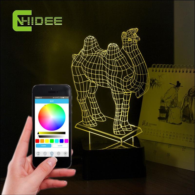ФОТО Creative Gift 3D LED Table Lamp for Bedroom Table Lamp Kids Sleeping Lampara Bluetooth Speaker Music Camel Led Night Lights