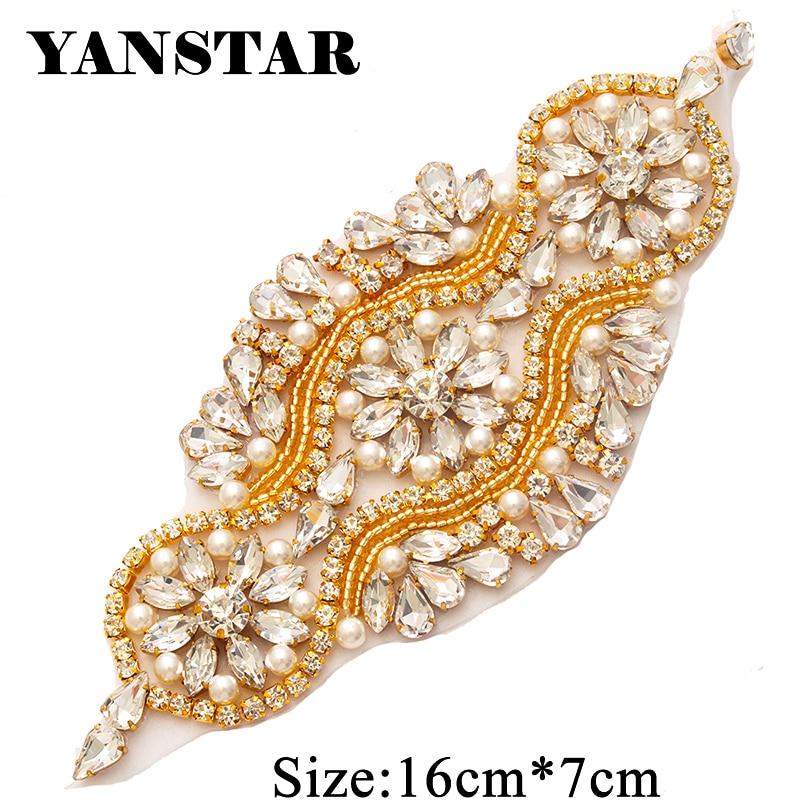 YANSTAR Wholesale (30PCS) Rhinestones Appliques For Wedding Belt Clear Rose  Gold Crystal Beads DIY f14ed7dd429f