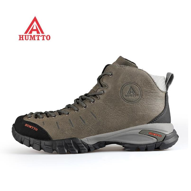 HUMTTO Men's Winter Genuine Leather Outdoor Hiking Trekking Boots Shoes Sneakers For Men Winter Climbing Mountain Shoes Man yin qi shi man winter outdoor shoes hiking camping trip high top hiking boots cow leather durable female plush warm outdoor boot