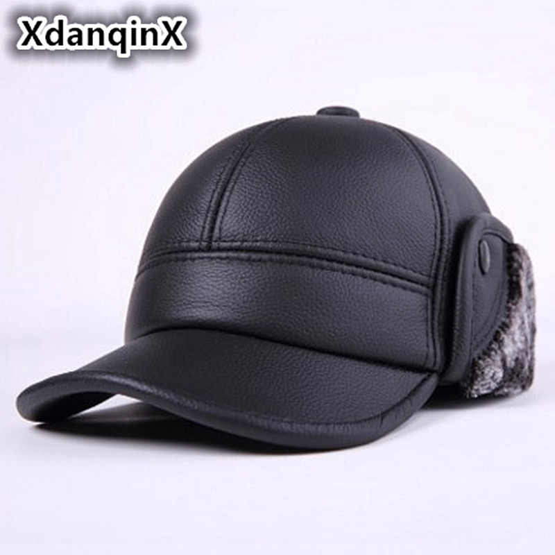 Leather Cowhide Men's Hat Thicker Winter Warm Earmuffs Baseball Cap Male Bone Middle-aged Casual Brand Leather Hat For Adult Men aorice winter genuine sheepskin leather hat brand new men s warm earmuffs hat man baseball caps leisure fashion brand hats hl030
