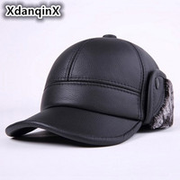 XdanqinX New Winter Men's Genuine Leather Cowhide Hat Thicker Warm Baseball Caps Male Bone Casual Brands Earmuffs Hats For Men