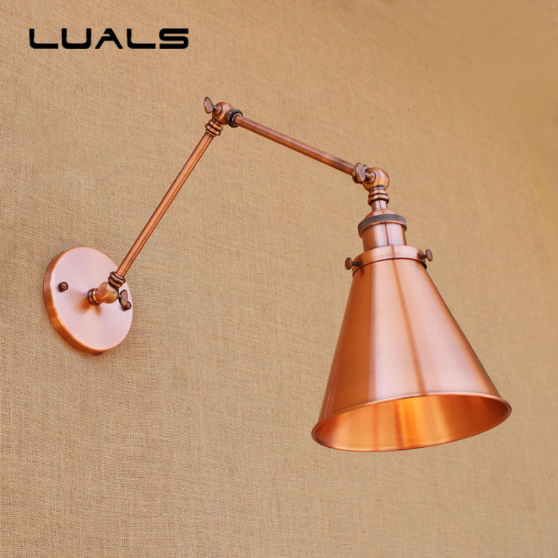 Loft Iron Art Industrial Retro Wall Lamp Adjustable Metal Red Copper Color Edison Wall Light Coffee Shop Bar Art Deco Lighting цена 2017