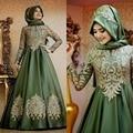 Oliva Hijab Muçulmano robe de soirée Vestidos de Noite Com Longa mangas Alta Pescoço Longo vestido de Festa À Noite Até O Chão Prom vestido