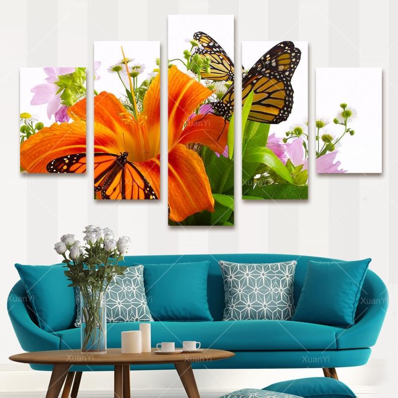 Quadros Para Sala De Tv ~ 2015 New Modern Butterfly Flower Painting Canvas Art Cuadros Flower