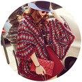 Новый 2016 Мода марка Плащ пальто для женщин зима Теплая мыс Пальто этнических Batwing Пончо С Капюшоном С Капюшоном Пальто Шанца Куртки DX549